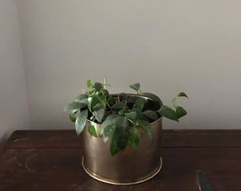 glam hammered hollywood regency brass vase. mid century brass hammered vessel. interior design home decor boho brass vase sphere.