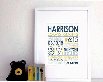 CUSTOM COLOR Birth Stats Print. Birth Announcement. 8x10 Baby Print. Baby girl or boy. New baby gift. Nursery print.