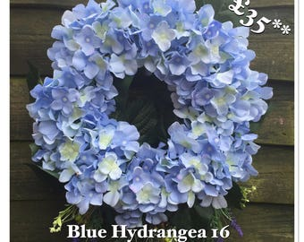 Blue Hydrangea Wreath 16 inch