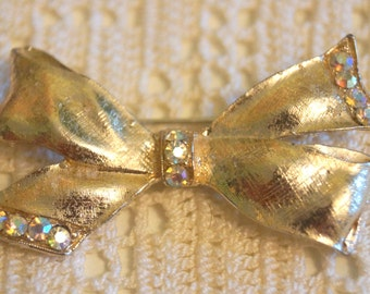 Vintage Gold Bow with Stones