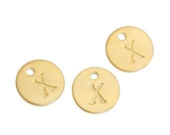 Letter X - 12mm Golden gold pendant