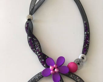 Black FishNet tubular necklace with purple flower and button