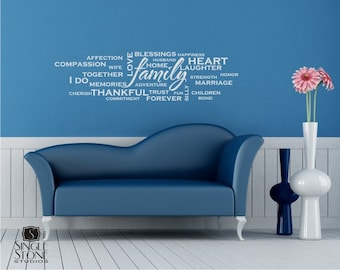 Family Wordle Wall Decal - Vinyl Text Wall Quotes Custom Home Decor