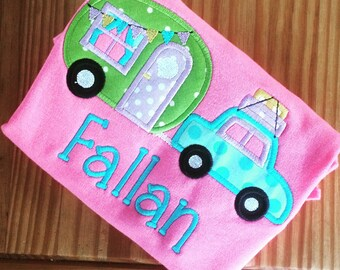 Girl's Camper Personalized Appliqué Tshirt