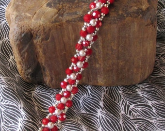 Right Angle Weave Red and White Bracelet