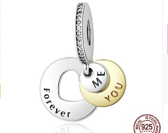 Me You Forever Charm, 925 Sterling Silver, Fits Pandora, European Charm Bracelet and Snake Chain Bracelets. DIY Jewelry, Fashion.