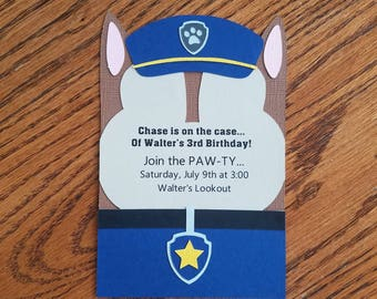 Paw Patrol Birthday Invitation - Chase, Cardstock, diecut, handmade, peronalized invitation