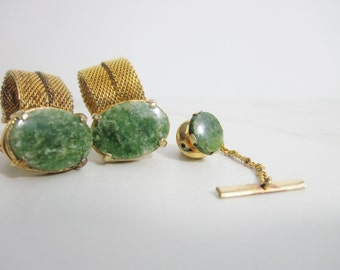 Vintage Cuff Link and Tie Tack Set: Gold Tone and Green Marble