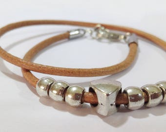 Double Wrap Light Tan Leather Bracelet, Leather Heart Bracelet, Custom Bracelet, Leather Bangle, Women's Leather Jewelry, Silver Charm Heart