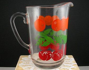 Vintage Glass Juice Pitcher, Farmhouse Country Decor, Enameled Oranges Tomatoes Leaves, 32 Oz Capacity, 1950s Mid Century Retro Kitchen Gift