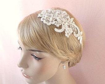 Bridal lace headpiece, embroidered lace rhinestone headpiece, bridal pearls hair accessory, wedding head piece Style 281