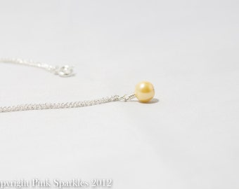 Lemon Yellow Pearl Necklace, Single Pearl Necklace