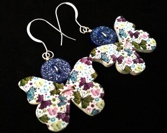 Unusual earrings. Button drop earrings. Butterfly earrings. Kitsch Earrings. Animal lover. Pinup earrings. Pretty earrings. Unique jewellery