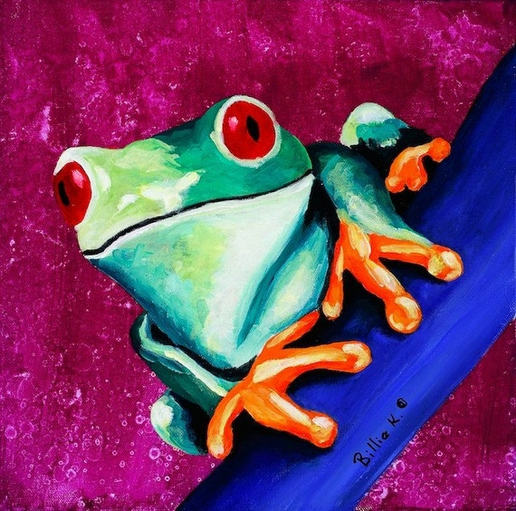 Climbing Tree Frog Painting Kids Room Art Print Childrens