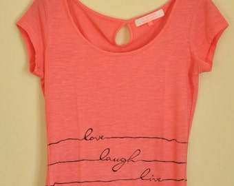 Hand painted T-shirt: love, laugh, live with black bow on the back