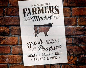 Old Fashioned Farmers Market Stencil -By StudioR12 - Fresh Produce  Locally Grown with Cow Sign Stencil -  Paint a Wood Sign -  SELECT SIZE