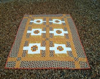 Masculine Lap Quilt, Yellow Gold Brown Quilt, Man Cave, Handmade Blanket