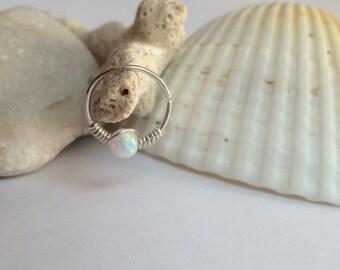 Opal tragus ring, tiny tragus hoop, gold tragus jewelry, tragus earring, silver tragus hoops, tragus earrings gold, tragus piercing jewelry