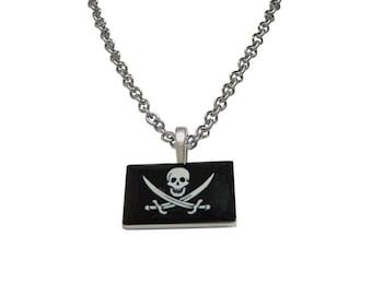 Black Pirate Skull Pendant Necklace