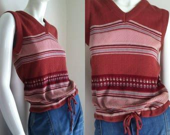 final sale -- Vintage 1970s Sleeveless Striped Knit Sweater
