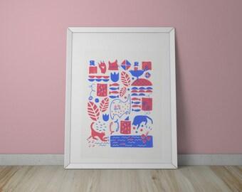 A3 Cat Pattern Screen Print - Cat Art - Cat Illustration
