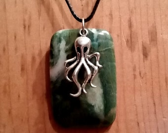 Green Stone Octopus Necklace