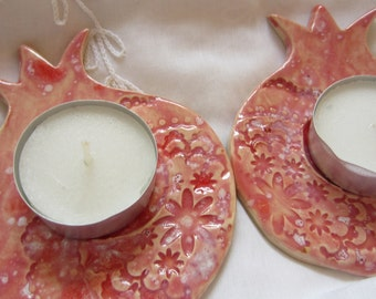 Two Red Lace Ceramic Pomegranates Made in Israel for Tea Lights Spoon Rests