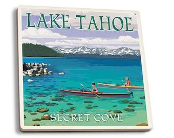 Lake Tahoe - Kayakers in Secret Cove - LP Artwork (Set of 4 Ceramic Coasters)