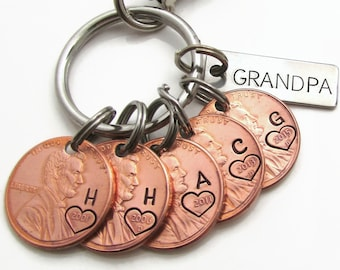 Personalized Penny Keychain, Hand Stamped Keychain, Initials Keychain, Personalized Dad Gift Personalized Mom Gift, Lucky Penny Grandpa Gift