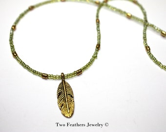 SOA Inspired Gold Feather Necklace - Green And Gold - Sons Of Anarchy Inspired Tara Necklace - Biker Jewelry For Her - St Patrick's Day