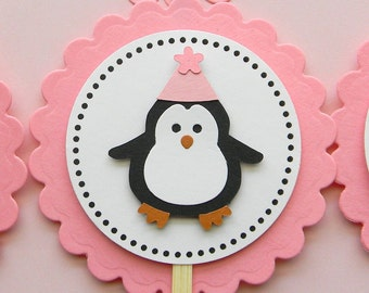Pink Penguin Happy Birthday Cupcake Toppers
