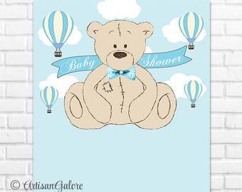 Teddy Baby Shower Backdrop, It's a Boy, Teddy Bear Birthday Backdrop, Blue Teddy Bear Backdrop Banner, Teddy Bear Hot Air Balloon digital