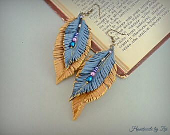 Long leaf leather earrings, leather feathers earrings, long earrings, leather earrings, leaf boho earrings, blue earrings, beige earrings