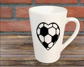 Soccer Heart Sports Mug Coffee Cup Kitchen Decor Bar Gift for Her Him Jenuine Crafts
