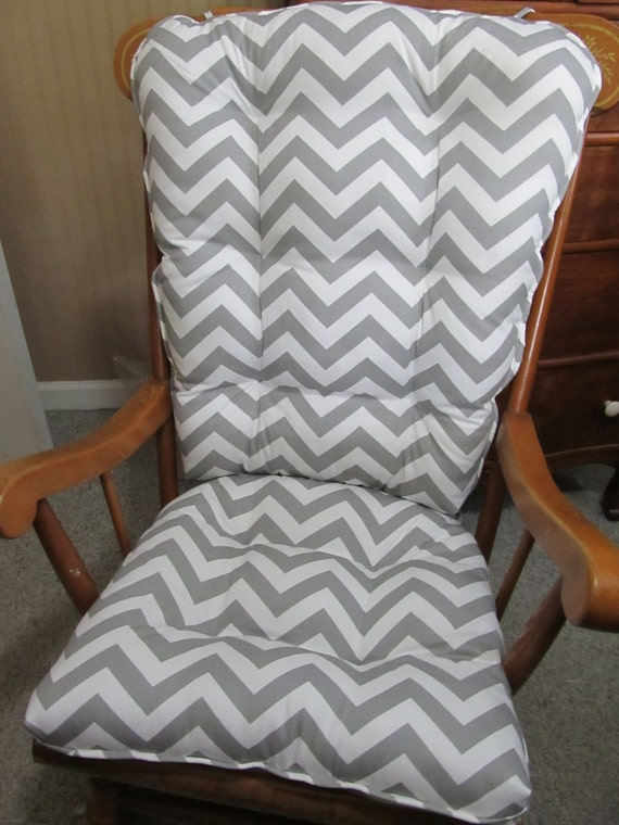 rocking chair or glider cushions set in grey and white zig zag