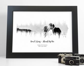 Photo Sound Wave Song Print Personalised Soundwave with Any Music and picture Amazing Gift