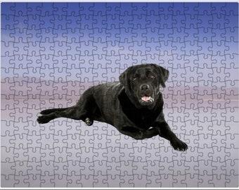Black Labrador sitting on Beach Jigsaw Puzzle with Photo Tin, dog photo puzzle, dog print puzzle, dog family puzzle, Pet photo puzzle