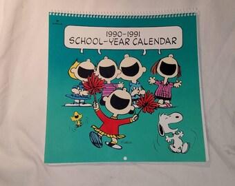 Peanuts 1990-1991 School-year Calendar Snoopy Charlie Brown