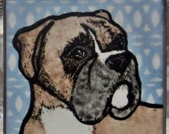 Stained Glass Dog Suncatcher Boxer JRN008