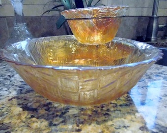 Amazing Yellow Glass Chip & Dip Set - Indiana Style - Perfect for Entertaining