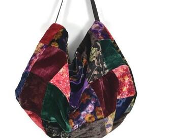 Velvet Patchwork Hobo Bag Velvet Pouch Burgundy Boho Velvet Shoulder Bag Hippie Hobo Bag Patchwork Handbag Crossbody Velvet Purse Patchwork