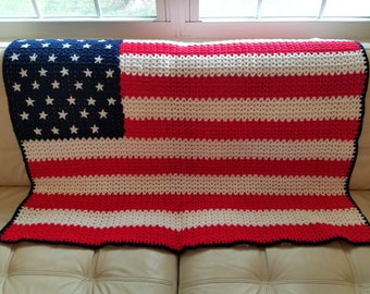 American Flag Afghan/American Flag Lap Robe/Crochet Throw/Afghans and Blankets/V-Stitch Lap Robe/READY TO SHIP