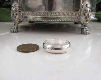 Solid Sterling Silver Wedding Ring Band, size 10.25, 6mm wide, Thumb Ring