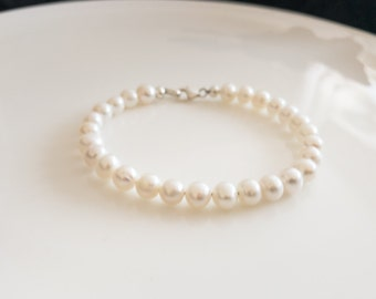 Freshwater Pearl Bracelet,  bridesmaid bracelet, Wedding Jewelry,  bridesmaid gift, Natural Genuine Pearl,  gifts for her,