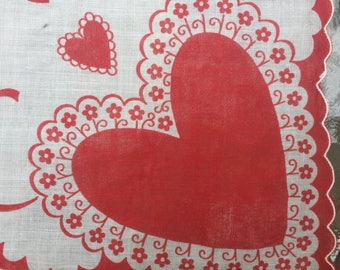 ON SALE Valentine Hankie Scalloped Edge Hearts and Bows Vintage