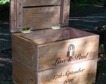 Wedding Post Box Card Box With Engraved Padlock Farrow & Ball