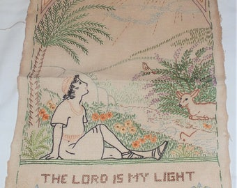 """Completed Embroidery Needlecraft Project - The LORD Is My LIGHT - 12""""X17'"""