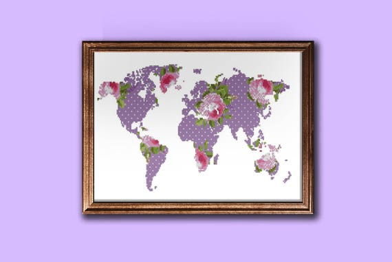 Modern world map cross stitch pattern floral silhouette map pattern modern world map cross stitch pattern floral silhouette map pattern pdf from zephyrmood on etsy studio gumiabroncs Images