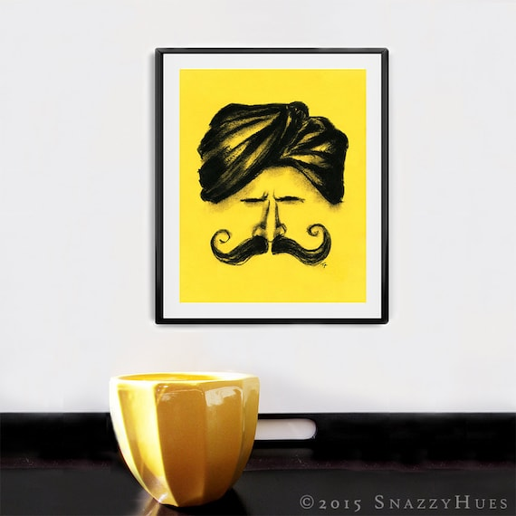 Gift for him Man with mustache Fine art Giclee