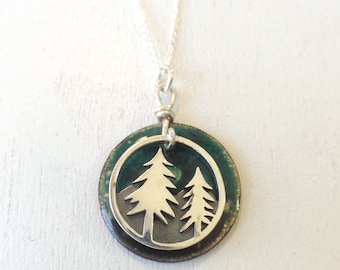 Trees and Mountains Enamel Pendant